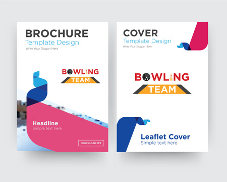 bowling team brochure flyer design template with abstract photo background, minimalist trend business corporate roll up or annual report
