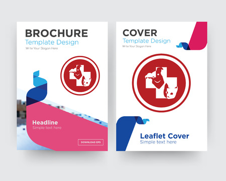 veterinary medicine brochure flyer design template with abstract photo background, minimalist trend business corporate roll up or annual report Stock Illustratie