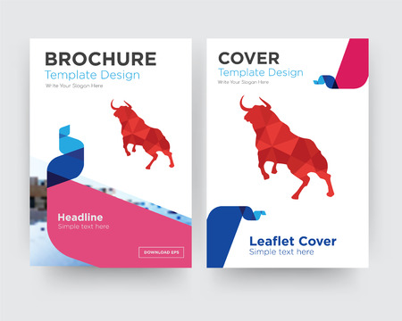 bull brochure flyer design template with abstract photo background, minimalist trend business corporate roll up or annual report Stockfoto - 102755445