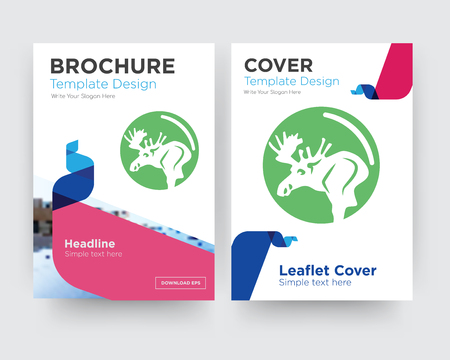 moose brochure flyer design template with abstract photo background, minimalist trend business corporate roll up or annual report 向量圖像