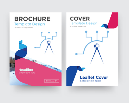 telecom brochure flyer design template with abstract photo background, minimalist trend business corporate roll up or annual report Illustration