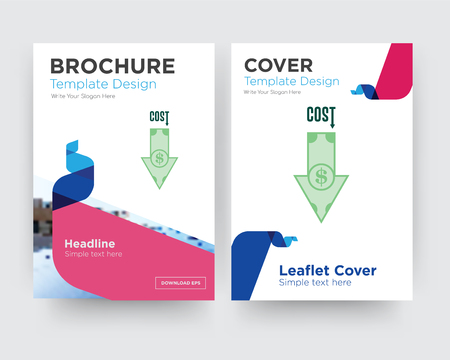 cost uction brochure flyer design template with abstract photo background, minimalist trend business corporate roll up or annual report
