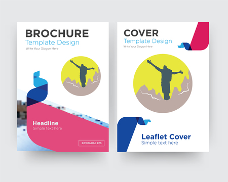 hiker brochure flyer design template with abstract photo background, minimalist trend business corporate roll up or annual report