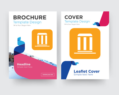 municipality brochure flyer design template with abstract photo background, minimalist trend business corporate roll up or annual report
