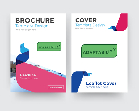 adaptability brochure flyer design template with abstract photo background, minimalist trend business corporate roll up or annual report Vectores