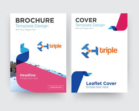 triple brochure flyer design template with abstract photo background, minimalist trend business corporate roll up or annual report