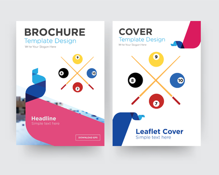 snooker brochure flyer design template with abstract photo background, minimalist trend business corporate roll up or annual report Vettoriali
