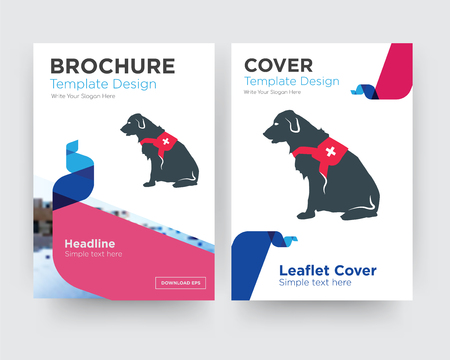 service dog brochure flyer design template with abstract photo background, minimalist trend business corporate roll up or annual report Illustration
