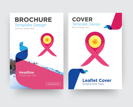 breast cancer ribbon brochure flyer design template with abstract photo background, minimalist trend business corporate roll up or annual report Çizim