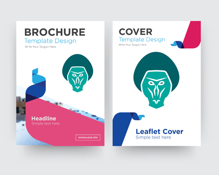 baboon brochure flyer design template with abstract photo background, minimalist trend business corporate roll up or annual report