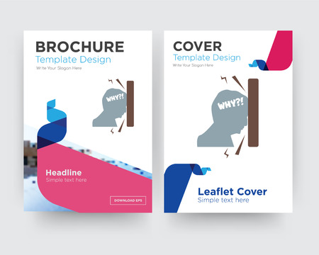 frustration brochure flyer design template with abstract photo background, minimalist trend business corporate roll up or annual report Ilustração
