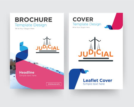 judicial brochure flyer design template with abstract photo background, minimalist trend business corporate roll up or annual report Illustration