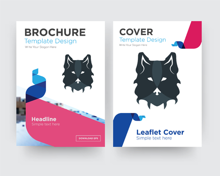 wolf face brochure flyer design template with abstract photo background, minimalist trend business corporate roll up or annual report