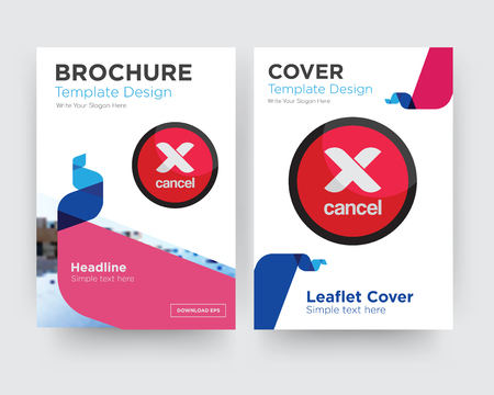 cancel brochure flyer design template with abstract photo background, minimalist trend business corporate roll up or annual report