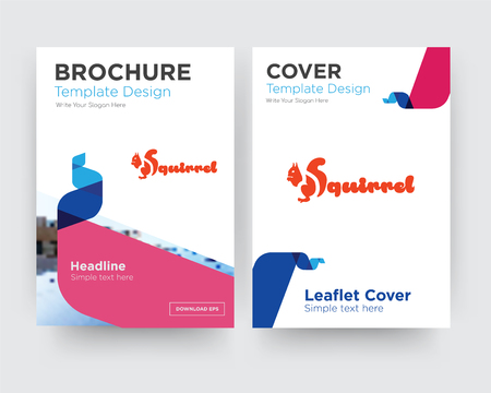 squirrel brochure flyer design template with abstract photo background, minimalist trend business corporate roll up or annual report Stock Illustratie