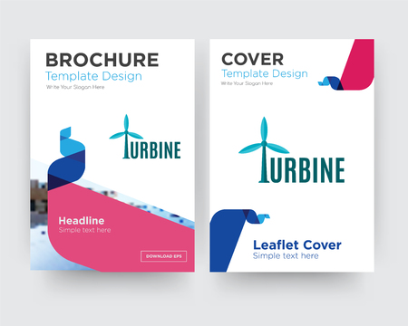 turbine brochure flyer design template with abstract photo background, minimalist trend business corporate roll up or annual report