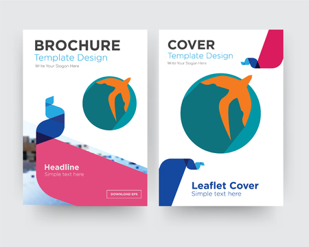 swift brochure flyer design template with abstract photo background, minimalist trend business corporate roll up or annual report Çizim