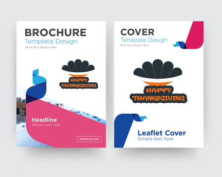 happy thanksgiving brochure flyer design template with abstract photo background, minimalist trend business corporate roll up or annual report Çizim