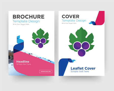 grape leaves brochure flyer design template with abstract photo background, minimalist trend business corporate roll up or annual report