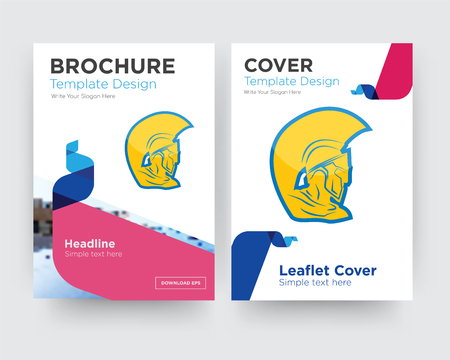 warrior head brochure flyer design template with abstract photo background, minimalist trend business corporate roll up or annual report Ilustração