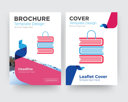 book shop brochure flyer design template with abstract photo background, minimalist trend business corporate roll up or annual report Ilustração