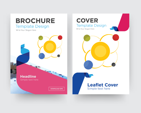 solar system brochure flyer design template with abstract photo background, minimalist trend business corporate roll up or annual report