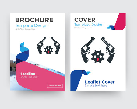 revolver brochure flyer design template with abstract photo background, minimalist trend business corporate roll up or annual report  イラスト・ベクター素材