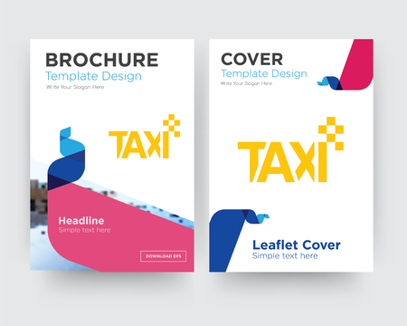taxi brochure flyer design template with abstract photo background, minimalist trend business corporate roll up or annual report Vectores