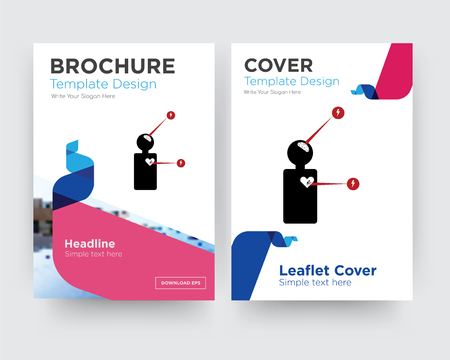 symptoms brochure flyer design template with abstract photo background, minimalist trend business corporate roll up or annual report