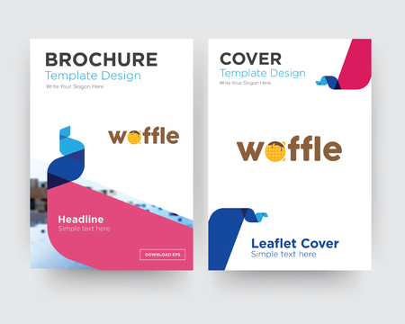 waffle brochure flyer design template with abstract photo background, minimalist trend business corporate roll up or annual report