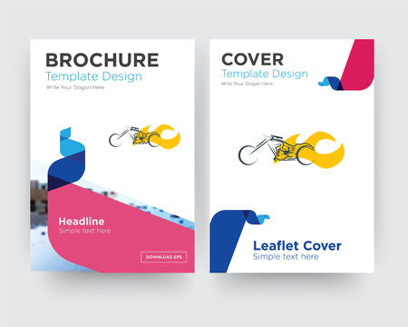 chopper brochure flyer design template with abstract photo background, minimalist trend business corporate roll up or annual report Stock Vector - 102288550