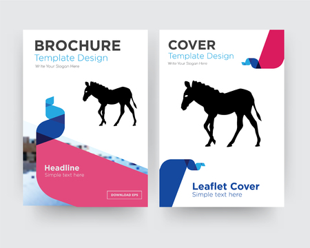 zebra brochure flyer design template with abstract photo background, minimalist trend business corporate roll up or annual report