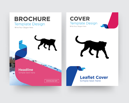 cheetah brochure flyer design template with abstract photo background, minimalist trend business corporate roll up or annual report Çizim