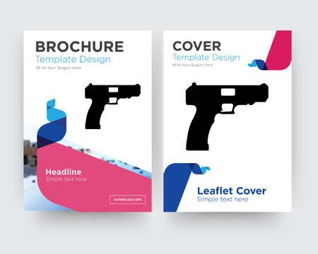 handgun brochure flyer design template with abstract photo background, minimalist trend business corporate roll up or annual report 일러스트