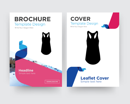 tank top brochure flyer design template with abstract photo background, minimalist trend business corporate roll up or annual report