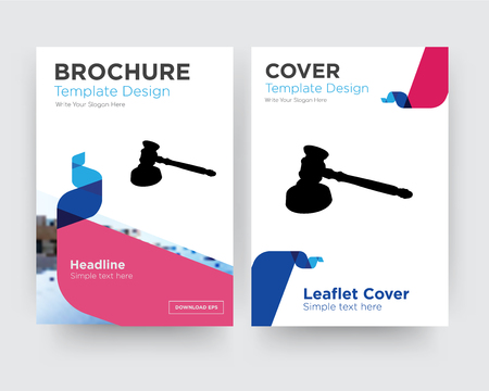gavel brochure flyer design template with abstract photo background, minimalist trend business corporate roll up or annual report Stockfoto - 102251067