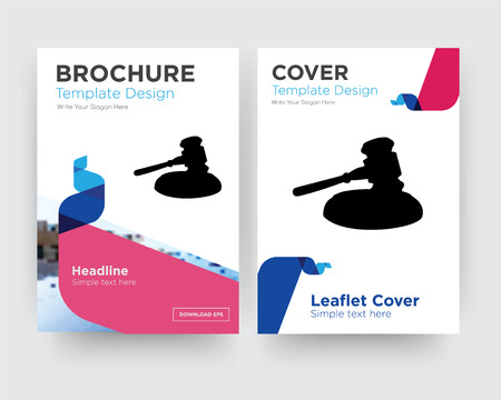gavel brochure flyer design template with abstract photo background, minimalist trend business corporate roll up or annual report