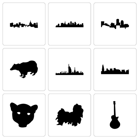 Set Of 9 simple editable icons such as image les paul, shih tzu, jaguar face, chicago, dubai, badger, boston, st can be used for mobile, web