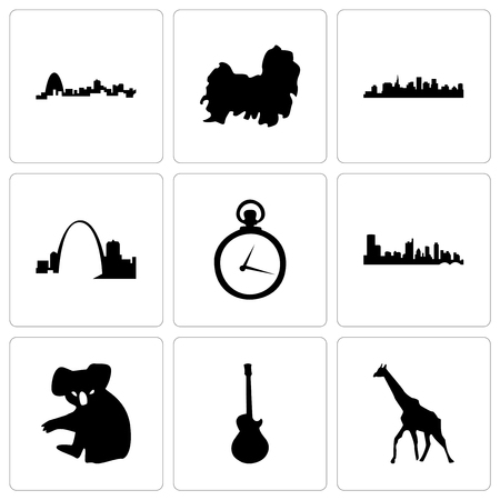 Set Of 9 simple editable icons such as giraffe, image les paul, koala, austin, pocket watch, missouri, st shih tzu, can be used for mobile, web