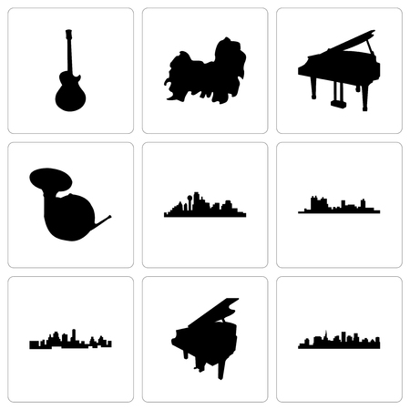 Set Of 9 simple editable icons such as st paul, grand piano, kansas city, fort worth, dallas, french horn, shih tzu, image les can be used for mobile, web