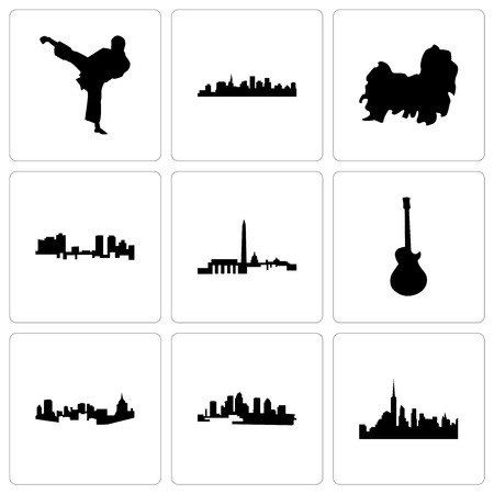 Set Of 9 simple editable icons such as nyc, florida, pittsburgh, image les paul, dc, fort worth, shih tzu, st karate kick, can be used for mobile, web Foto de archivo - 102254302