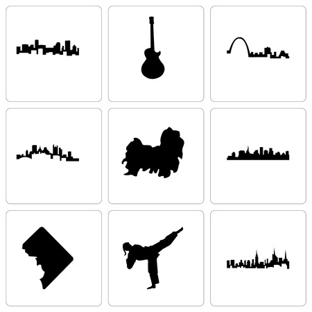 Set Of 9 simple editable icons such as nyc, karate kick, dc, st paul, shih tzu, pittsburgh, louis, image les denver, can be used for mobile, web