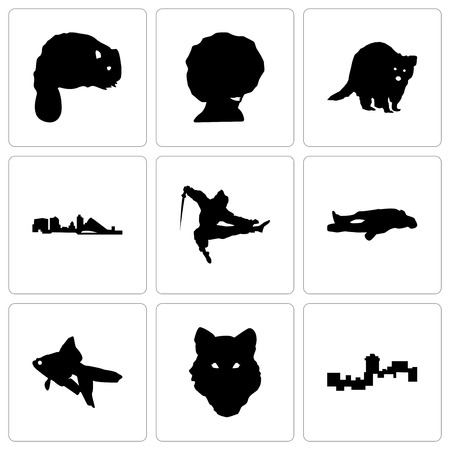 Set Of 9 simple editable icons such as montana, wolf face, goldfish, chalk, ninja, wisconsin, raccoon, afro, beaver, can be used for mobile, web