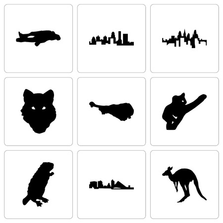 Set Of 9 simple editable icons such as kangaroo, wisconsin, beaver, koala, turkey leg, wolf face, pennsylvania state, kentucky chalk, can be used for mobile, web