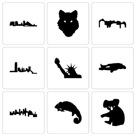 Set Of 9 simple editable icons such as koala, chameleon, minnesota, chalk, statue of liberty, oklahoma, utah, wolf face, wisconsin, can be used for mobile, web