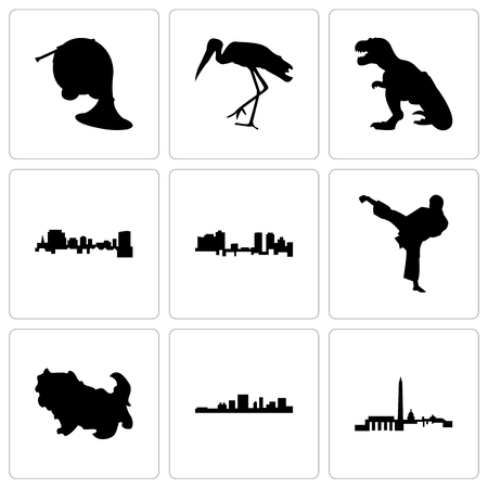Set Of 9 simple editable icons such as dc, south carolina, shih tzu, karate kick, fort worth, t rex, stork, french horn, can be used for mobile, web Foto de archivo - 102250952