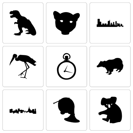 Set Of 9 simple editable icons such as koala, french horn, st paul, badger, pocket watch, stork, austin, jaguar face, t rex, can be used for mobile, web
