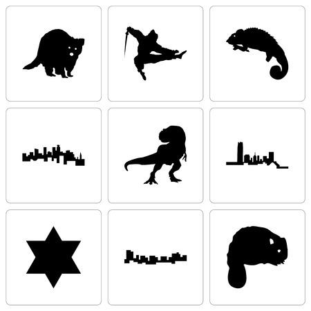 Set Of 9 simple editable icons such as beaver, jamaica, star of david, oklahoma, t rex, minnesota, chameleon, ninja, raccoon, can be used for mobile, web