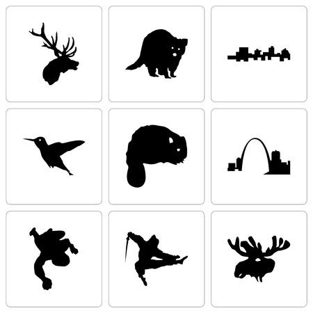 Set Of 9 simple editable icons such as moose head, ninja, chalk, missouri, beaver, hummingbird, jamaica, raccoon, elk can be used for mobile, web