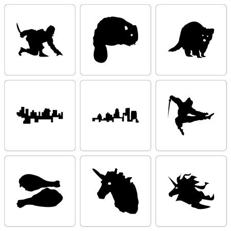 Set Of 9 simple editable icons such as unicorn head, turkey leg, ninja, kentucky state, haiti, raccoon, beaver, can be used for mobile, web